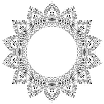 Frame in oosterse traditie. gestileerd met henna tatoeages decoratief patroon voor het versieren van covers voor boek, notebook, kist, tijdschrift, briefkaart en map. bloemenmandala in mehndi-stijl.