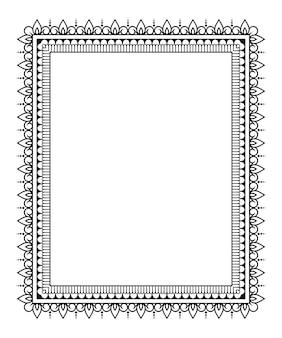 Frame in oosterse traditie. gestileerd met henna tatoeages decoratief patroon voor het versieren van covers voor boek