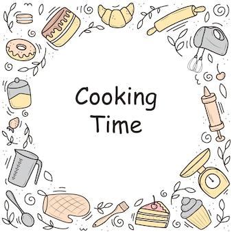 Frame keukengerei doodle stijl vector