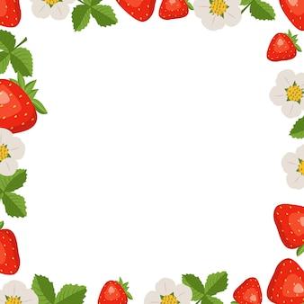 Frame met aardbeien bladeren en bloemen op wit.