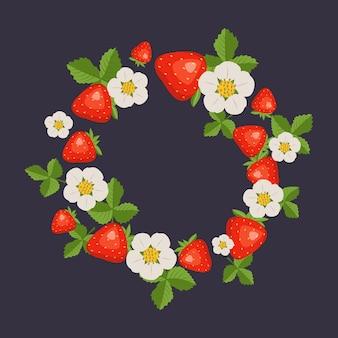 Frame met aardbeien bladeren