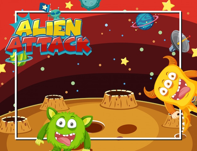 Frame met aliens in de ruimte