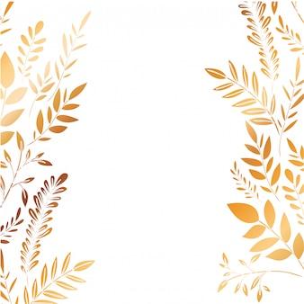 Frame met bloemen en bladeren gouden