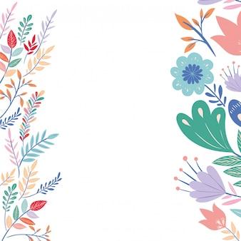 Frame met bloemen en bladeren pictogram