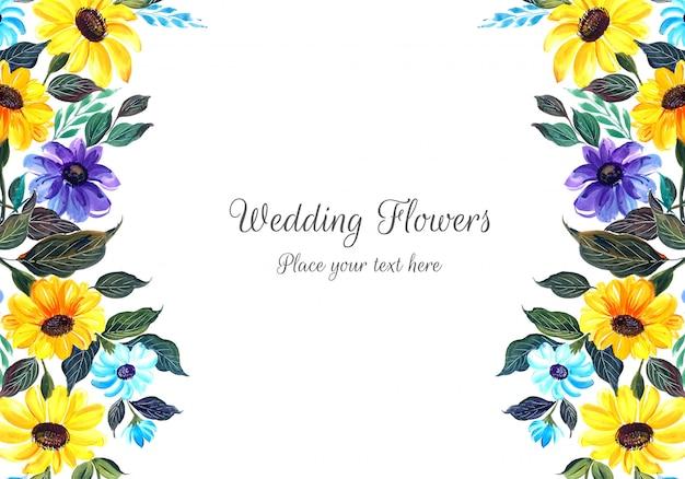 Frame met bruiloft kleurrijke bloemen