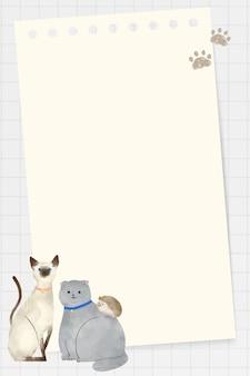 Frame met dieren doodle op raster achtergrond