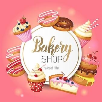 Frame met geglazuurde donuts, cheesecake en cupcakes met kersen, aardbeien en bosbessen op roze.