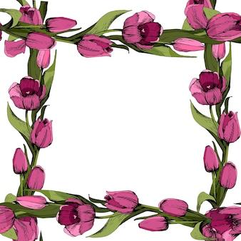 Frame met gekleurde roze tulpen. poster. lente gevoel. vector illustratie.