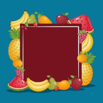Frame met gezonde biologische vruchten icon set