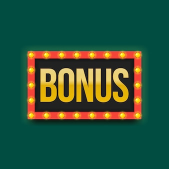 Frame met gloeilampen op groene achtergrond. bonus belettering. vector illustratie. billboard bonuspunten in winst.