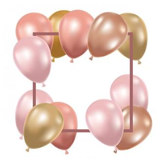 Frame met heliumballons op wit