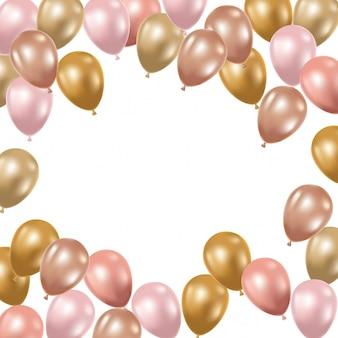 Frame met heliumballons op witte achtergrond