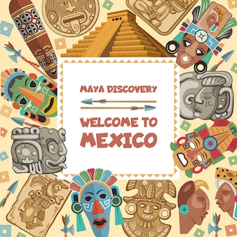 Frame met illustraties van verschillende tribale maya-symbolen. oude azteekse etnische mexico-cultuur, inheems inca-masker