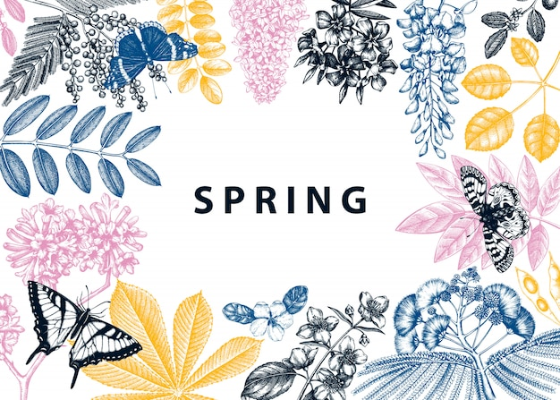 Frame met lentebomen in bloemenillustraties. hand getekend bloeiende plant achtergrond. vector bloem, blad, tak, boom schetst sjabloon. lente kaart of wenskaart.