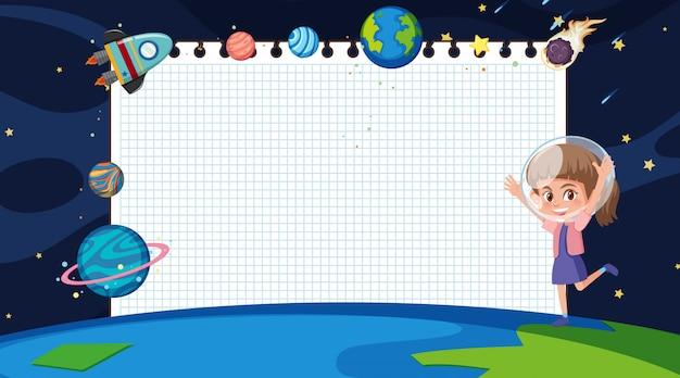 Frame met meisje op ruimteachtergrond