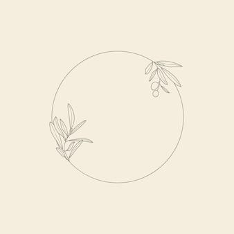 Frame met olijftak met bladeren en fruit in een trendy minimale lineaire stijl. vector ronde bloemenstempel voor het verpakken van olie, cosmetica, biologisch voedsel, huwelijksuitnodigingen en wenskaarten