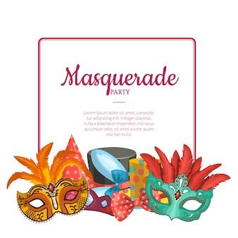 Frame met plaats voor tekst en met maskers en feestaccessoires onder illustratie