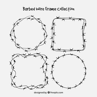 Frame met prikkeldraad set van vier