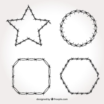 Frame met prikkeldraad verschillende vormen