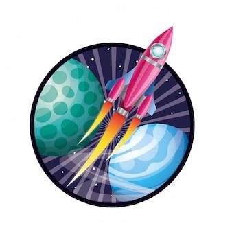 Frame met raketvliegen en planeten van het zonnestelsel