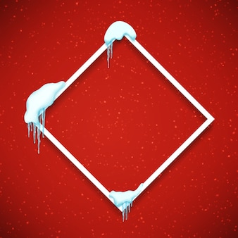 Frame met realistische sneeuw en ijspegels.
