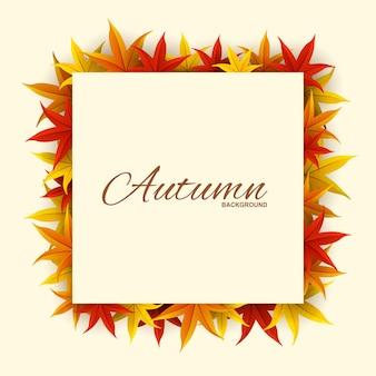 Frame met rode, oranje en gele herfstbladeren,