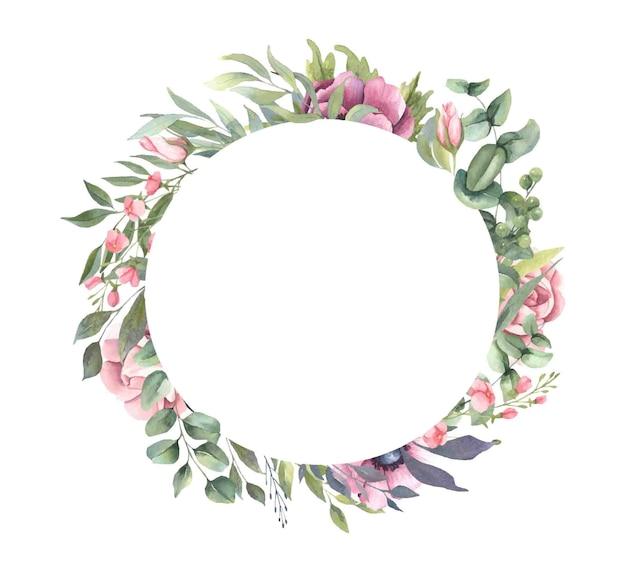 Frame met roze bloemboeketten, bladeren.