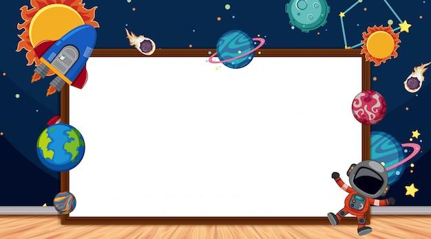 Frame met ruimtethema op achtergrond
