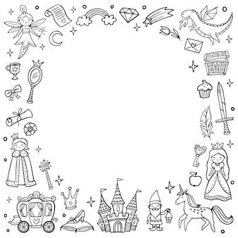 Frame met schattige sprookjesachtige en magische voorwerpen Premium Vector