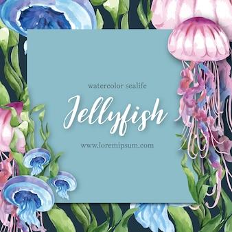 Frame met sealife thema, creatieve kwallen met kelp illustratie sjabloon