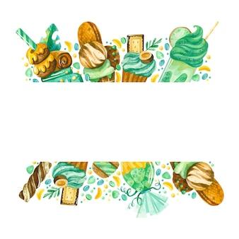 Frame met snoepjes aquarel confectie rand