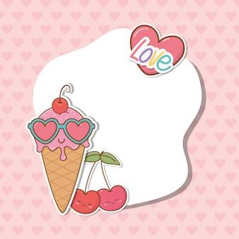 Frame met stickers kawaii