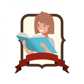 Frame met student meisje en leesboek