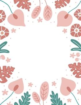 Frame met tropische bloemen en monsterabladeren op witte achtergrond
