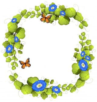 Frame met wijnstok en vlinders