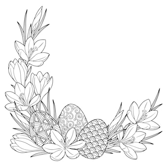 Frame met zwart-wit doodle paaseieren