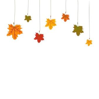 Frame of decoratie gemaakt van herfst esdoorn bladeren die van bovenaf hangen aan een draad lege ruimte voor disco...