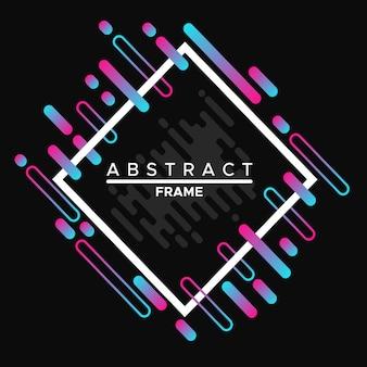 Frame-ontwerp, dynamisch wit frame met kleurrijke abstracte geometrische vormen op een zwarte achtergrond