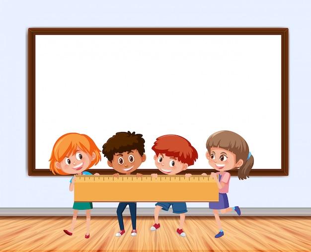 Frame-ontwerp met bord en kinderen