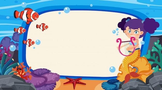 Frame-ontwerp met zeemeermin en kleine vis in de oceaan