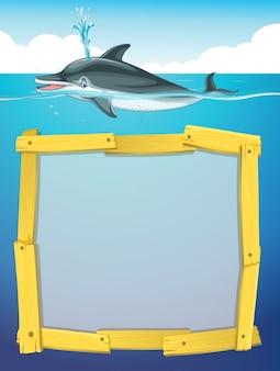 Frame ontwerp met zwemmen met dolfijnen
