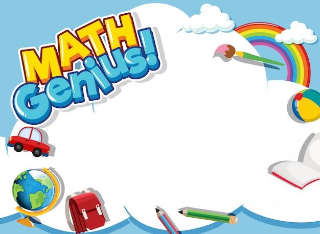 Frame ontwerpsjabloon met school items en hemelachtergrond