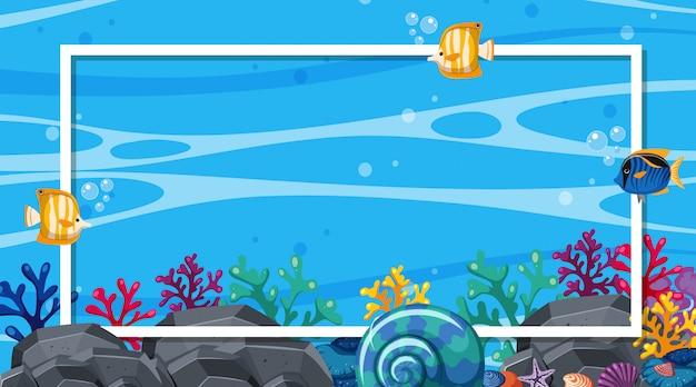 Frame ontwerpsjabloon met vissen zwemmen