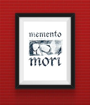 Frame op de bakstenen muur met memento mori inscriptie