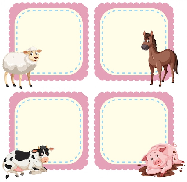 Frame sjabloon met boerderijdieren