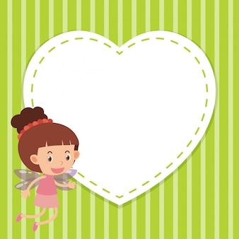 Frame sjabloon met hart en meisje