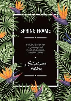 Frame sjabloon met tropische bladeren en bloemen op zwarte achtergrond. verticale lay-outkaart met plaats voor tekst. lente of zomer ontwerp