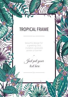Frame sjabloon met tropische witte en paarse bladeren