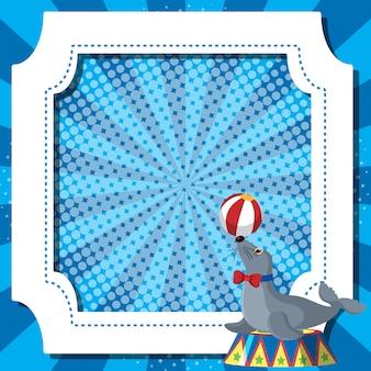 Frame sjabloon met zeehond bal spelen