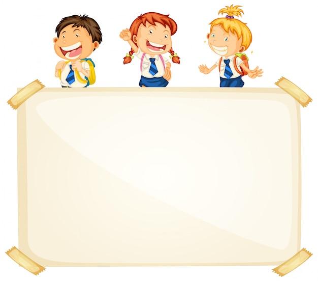 Frame sjabloonontwerp met drie gelukkige studenten